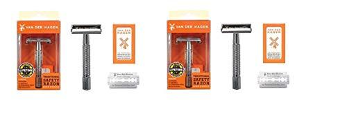 (Van Der Hagen - Safety Razor with 5 Steel Blades(pack of 2))