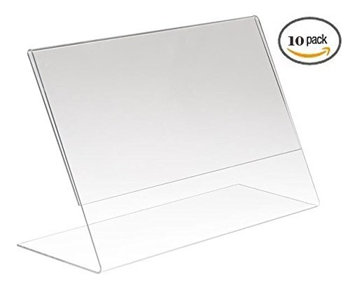 (10 Pack) 10x15CM Clear Acrylic Slant Back Ad / Sign Holder, Plastic Slanted Picture / Photo Frame 6 x 4
