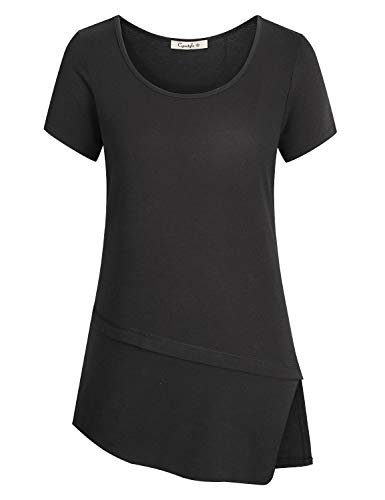 Cyanstyle Boat Neck Shirts for Women Short Sleeve Tee Tops Outwear Wear with Leggings Flowy Blouse Flattering Simply Designed Classic Breathable Lightweight Women's Clothing Black L