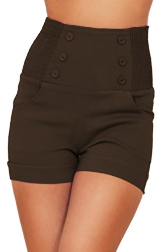 HOT FROM HOLLYWOOD High Waisted Sophisticated Trendy Chic Front Button Vintage Inspired Shorts