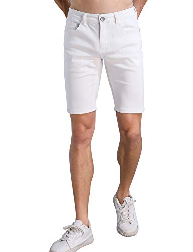 (ZLZ Stretch Jean Short for Men, Men's Casual Regular Fit Denim Short Pants (White, 36))