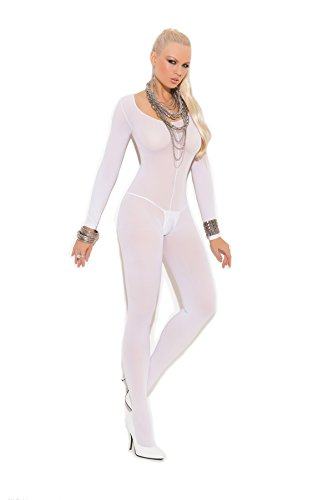 Opaque Long Sleeve - Zabeanco Women's Plus Size Long Sleeve Opaque Crotchless Bodystocking