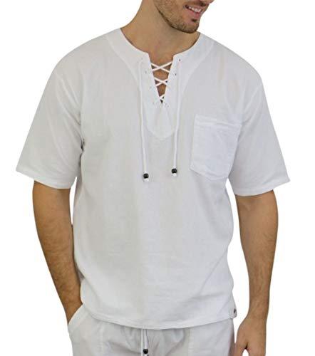 Pure Cotton Mens White Shirt- 100% Cotton Casual Hippie Shirt Short Sleeve Beach Yoga Top
