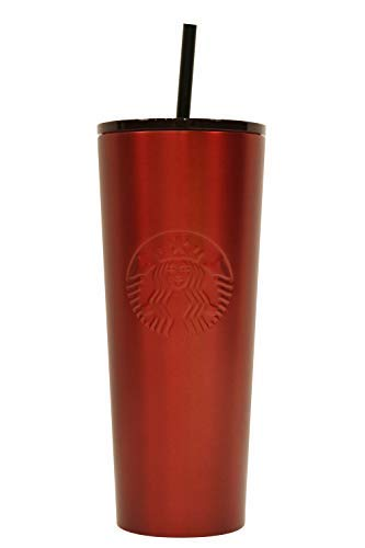 Starbucks 2018 Holiday Collection Crimson Red Stainless Steel Cold Cup Tumbler 24oz