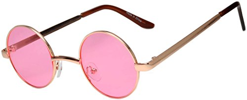 Round Retro Vintage Circle Style Sunglasses Pink Lens Silver Metal - Colored Lens Glasses