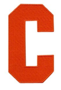 Hockey Style Patch ORANGE C Patch (Captain) Iron On for Jersey Football, Baseball. Soccer, Hockey, Lacrosse, Basketball