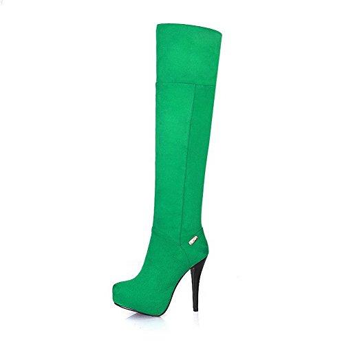 Allhqfashion Womens Pu Glassato Stivali Con Tacco A Spillo E Tacco A Spillo Verde