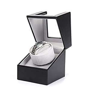 AOKELILY Automatic Single Watch Winder, in Wood Shell and Black Leather/Carbon Fiber Leather, Japanese Motor