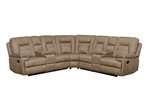 - Betsy Furniture Large Microfiber Reclining Sectional Living Room Sofa in Latte 8038
