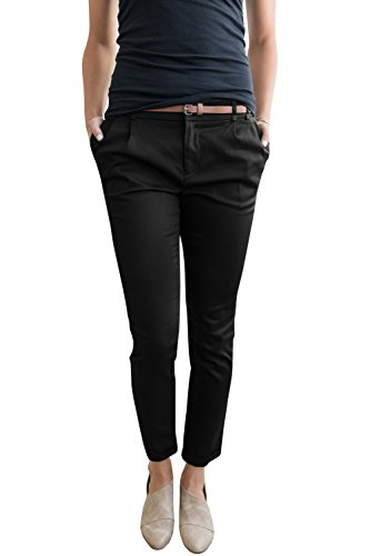 Liyuandian Womens Casual Straight Leg Comfy Stretch Flat Front Cropped Work Pants Pockets