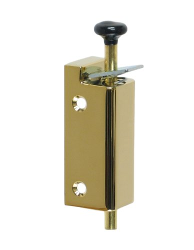 FPL Sliding Door Lock Security Foot Bolt in PVD Lifetime Polished Brass - Quickly and Easily Locks and Unlocks with Your Foot