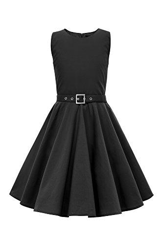 BlackButterfly Kids 'Audrey' Vintage Clarity 50's Children's Girls Dress (Black, 13-14 -