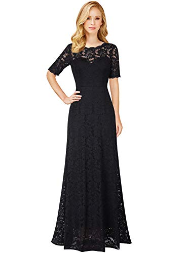 VFSHOW Womens Retro Black Floral Lace Half Sleeve Formal Evening Wedding Party Maxi Dress 2562 BLK XL (Black Lace Sleeves Gown)