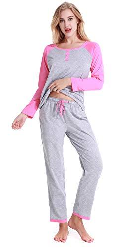 Women's Pajamas Long Sleeves Cotton Sleepwear Soft Pj Set XS-XL