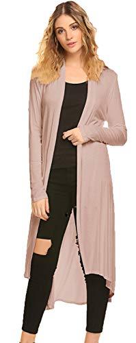 POGTMM Women's Long Open Front Drape Lightweight Duster High Low Hem Maxi Long Sleeve Cardigan with Pocket(S-3XL) (Light Khaki, US -