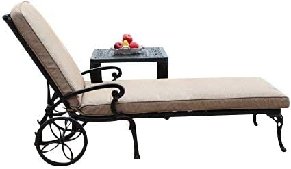 CBM Patio A Pair of 2 Kawaii Collection Cast Aluminum Powder Coated Chaise Lounge with Lite Brown Seat Cushions DS-CK01 LC