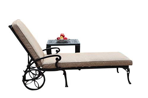CBM Patio A Pair of 2 Kawaii Collection Cast Aluminum Powder Coated Chaise Lounge with Lite Brown Seat Cushions DS-CK01/LC Cast Aluminum Lounge Chairs