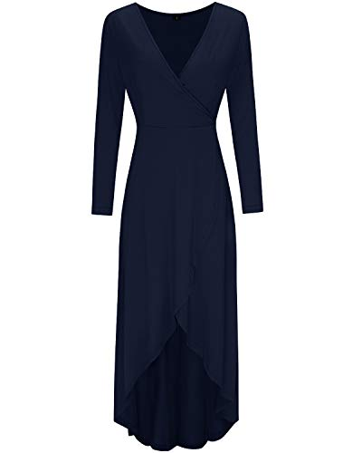 KILIG Womens V Neck Long Sleeve Asymmetrical Casual Maxi Dresses (Navy-1, L)