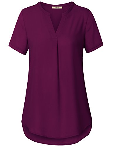 Timeson Womens Shirts and Blouses, Women's V Neck Short Sleeve Lightweight Chiffon Blouse Shirts Tops Dark Red Large ()