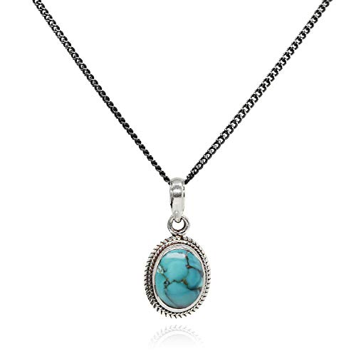 Luna Azure Oval Natural Turquoise Vintage Retro Pendant Necklace 18'' (Turquoise) ()