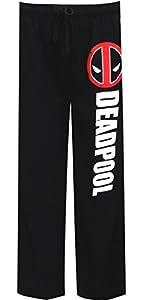 Marvel Deadpool Logo Men's Loungewear Pants in Black. M.