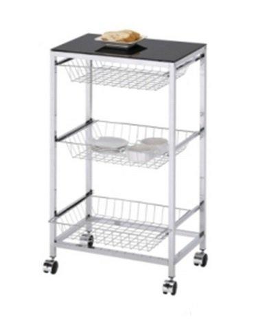 Verdulero - Carro de cocina con ruedas y 3 cestos de metal cromado y encimera de cristal en color negro. Medidas: 51x35x88 cm: Amazon.es: Hogar