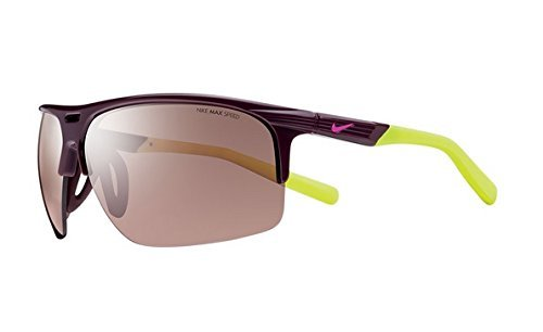 Nike EV0801-607 Run X2 S E Sunglasses (One Size), Deep Burgundy/Volt, Max Speed Tint - Sunglasses Run