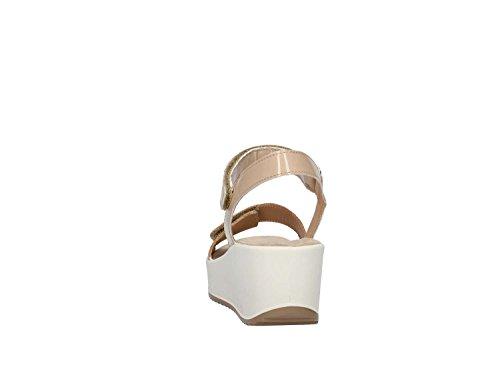 7821 PLATINO/BEIGE Scarpa donna sandalo zeppa Igi&co pelle made in italy Platino