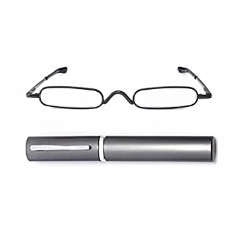 dfa3eb71d921 KAIBSEN® Metal Frame Rimmed Slim Reading Glasses - Classic Readers in Slim  Pen Clip Portable