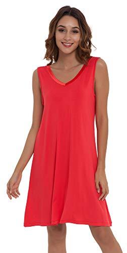 NEIWAI Women's Sleep Shirt Bamboo Viscose Nightgowns V Neck Nightshirt Red M ()