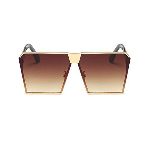 Hombre Marco Gafas Claro Conducción o Metal Gafas Gafas UV400 Mujer Vendimia Cuadrado de Mujer Pescar sol marrón Hombre Hzjundasi de Oro y sol qwf7PvE