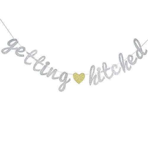 Getting Hitched - Glitter Getting Hitched Banner, Bridal Shower Wedding Banner, Wedding String Decorations, Rustic Wedding Decor, Wedding Engagement Sign Photo Prop.