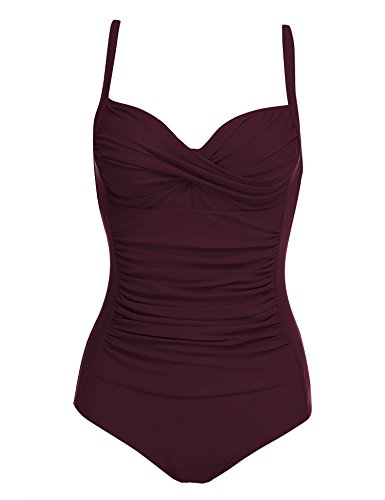 Ekouaer Bathing Suits for Women One Piece Elegant Inspired Vintage Monokinis Swimsuit(Wine Red,Small)