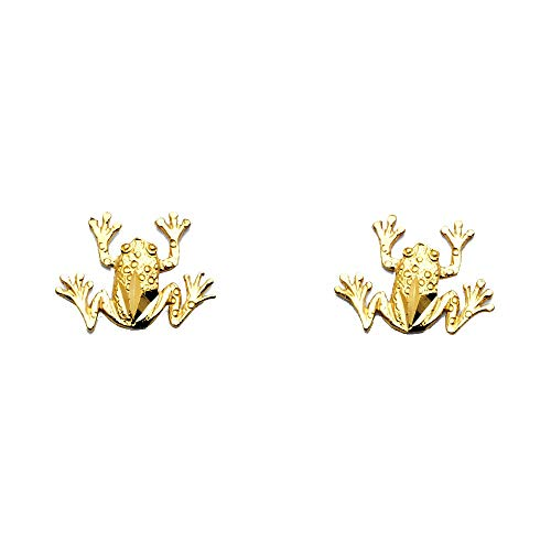 (14k Yellow Gold Leaping Frog Stud Earrings)