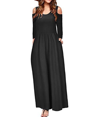 STYLEWORD Women's Cold Shoulder Elegant Maxi Long Dress with Pocket(Black-506,L) (Dress Shoes Black For Women)