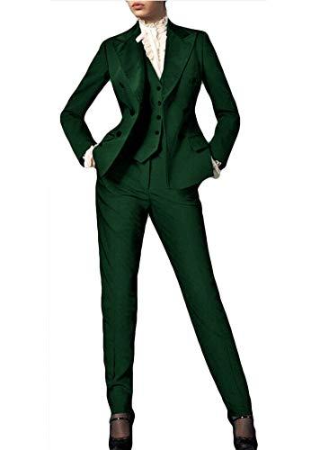 Ladies Tuxedo - THEWOMEN Women's 3 Pieces Waistcoat Suits Business Uniform Formal Outfit Ladies Office Suit Evening Party Tuxedos Green
