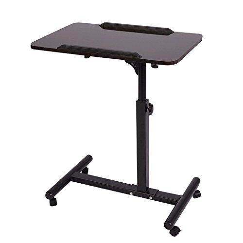 Qwork Mobile Laptop Desk Cart Height and Angel Adjustable 360° Swivel and 180° Tilt Spliting Laptop Stand Table(Black Walnut)