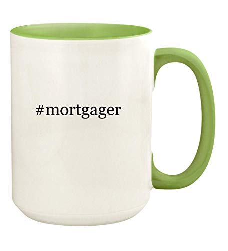 #mortgager - 15oz Hashtag Ceramic Colored Handle and Inside Coffee Mug Cup, Light Green