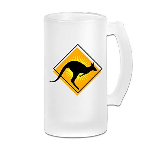 Sign Kangaroo Road (Poii Qon Road Sign Kangaroo 16 Oz Frosted Glass Stein Wine Beer Mug Birthday Gift)