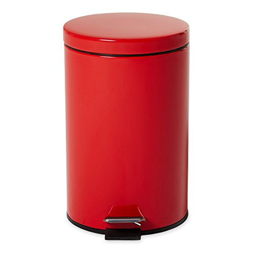 Rubbermaid Commercial Economical Step Can, Round, Steel, 3 1/2 Gallons, Red (MST35ERD) - Economical Steel Step