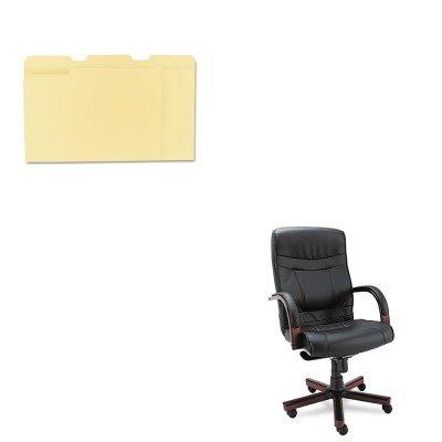 KITALEMA41LS10MUNV12113 - Value Kit - Best Madaris High-Back Knee Tilt Leather Chair w/Wood Trim (ALEMA41LS10M) and Universal File Folders (UNV12113)