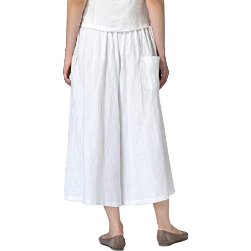 TANGSen Womens Casual Loose Pants Ladies Cotton Linen Blend Wide Leg Pants Fashion Plus Size with Pocket White