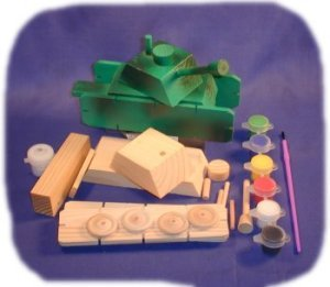 Brandine Wood Kits (Tank Wood Craft Kit with Paint and Brush)