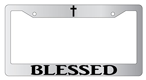 Blessed (Cross Top) High Quality Chrome Plastic License Plate Frame Christian (Plastic Top Plate)