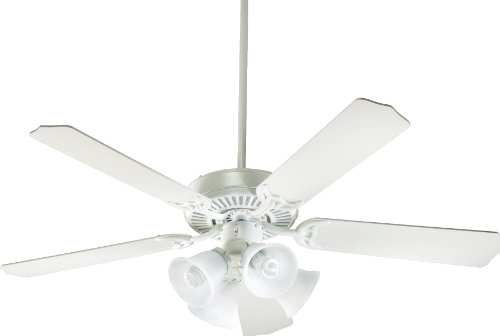 Quorum International 77525-8108 Capri V 52-Inch 4 Light  CFL Ceiling Fan, Studio White Finish with Faux Alabaster Glass Shades and Studio White Blades