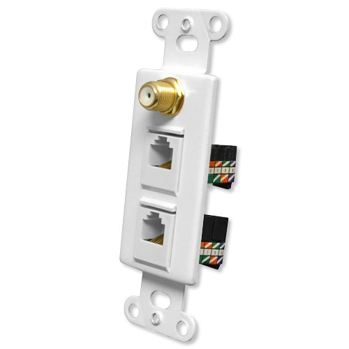 Pro Wire OEM Systems Combo Jack Plate (1 F, 2 RJ45), White (IW-1F2RJ45Gw)