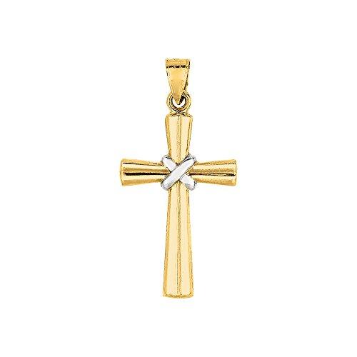 14K Or jaune + Blanc brillant Fancy Pendentif Croix