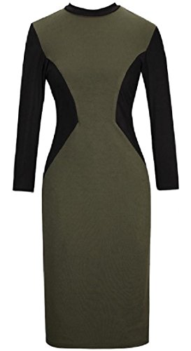 Coolred Stitching Green Cocktail Army Women Collision Dress Stretch Zip Color Bodycon rqfr1w7