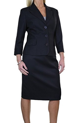 icecoolfashion Ice (6467-1) Business Office 3/4 Sleeve Fully Lined Pencil Skirt Suit Black (Fully Lined Pencil Skirt)
