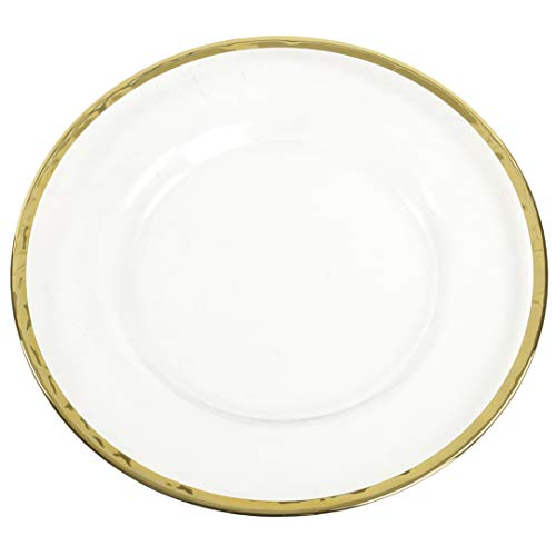 (Koyal Wholesale Bulk Clear Glass Gold Rim Charger Plates, Set of 4, Glass Charger with Gold Rim, Glass Hammered Charger Plates)